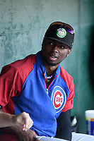 Kane County Cougars outfielder Shawon Dunston (3) in the dugout before a game against the Peoria Chiefs on June 2, 2014 at Dozer Park in Peoria, Illinois.  Peoria defeated Kane County 5-3.  (Mike Janes/Four Seam Images)