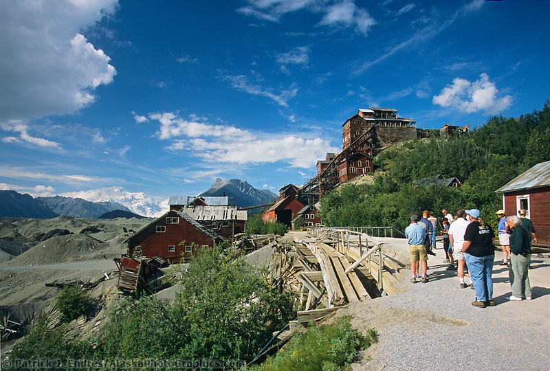 Tourists explore Kennicottt Copper Mine, Wrangell St. Elias National Park, Alaska.