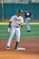 Jo Adell (26) of the Salt Lake Bees at second base against the El Paso Chihuahuas at Smith's Ballpark on August 17, 2019 in Salt Lake City, Utah. The Bees defeated the Chihuahuas 5-4. (Stephen Smith/Four Seam Images)