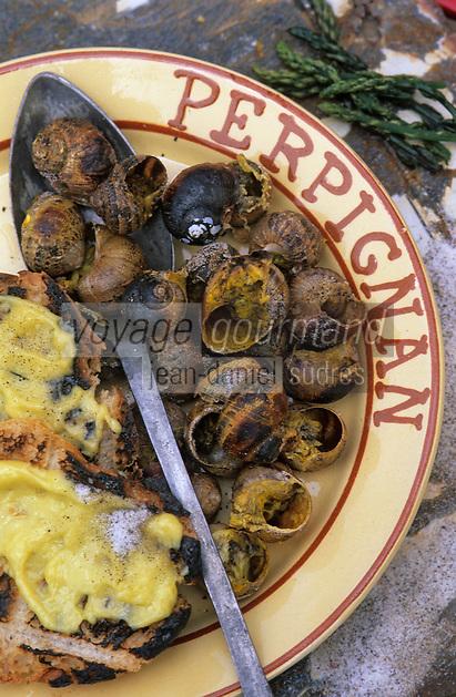 Europe/France/Languedoc-Roussillon/66/Pyrénées-Orientales/Banyuls-sur-Mer: recettes de la Sanch - cuisson des escargots pour la Cargolade