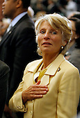 Washington, DC - April 23, 2009 -- United States Representative Jane Harman (Democrat of California) puts her hand over her heard for the National Anthem during the Holocaust Days Of Remembrance ceremony in the Rotunda of the U.S. Capitol, Thursday, April 23, 2009 in Washington, DC. According to current and former National Security Agency officials, Harman was recorded during intercepted telephone calls allegedly agreeing to seek easy treatment from the Bush administration for two pro-Israel lobbyists who were under investigation for espionage. .Credit: Chip Somodevilla - Pool via CNP
