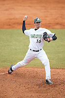 Charlotte 49ers relief pitcher Brandon Vogler (16) in action against the Akron Zips at Hayes Stadium on February 22, 2015 in Charlotte, North Carolina.  The Zips defeated the 49ers 5-4.  (Brian Westerholt/Four Seam Images)
