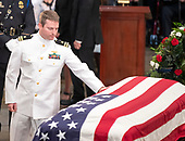 John S. McCain, IV, son of the late United States Senator John McCain (Republican of Arizona), pays respects to his Dad during the Lying in State ceremony honoring  in the US Capitol Rotunda in Washington, DC on Friday, August 31, 2018.<br /> Credit: Ron Sachs / CNP<br /> <br /> <br /> (RESTRICTION: NO New York or New Jersey Newspapers or newspapers within a 75 mile radius of New York City)