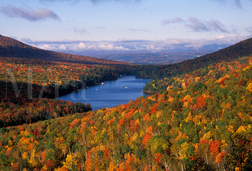 AJ1795, fall, foliage, lake, Vermont, Groton State Forest, Scenic view of Kettle Pond and colorful fall foliage from Owl's Head Overlook in Groton State Forest.