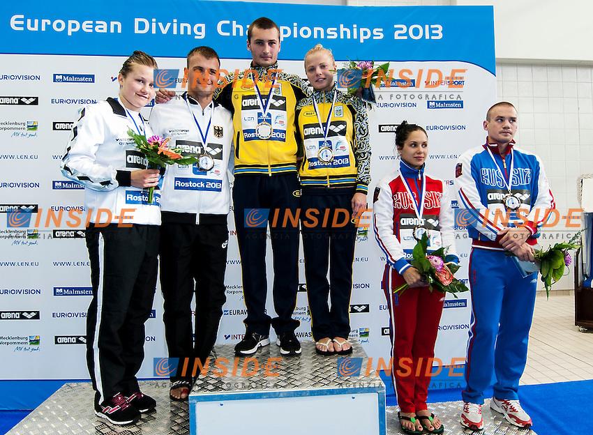 podium team event<br /> silver KLEIN-PUNZEL GER, gold BONDAR-PROKOPCHUK UKR,  Bronze KOLTUNOVA-KUZNETSOV Russia <br /> Arena European Diving Championships<br /> 18/6/2013  Rostock GER Germany<br /> Day 01Team Event<br /> Photo G. Scala/Inside/deepbluemedia.eu