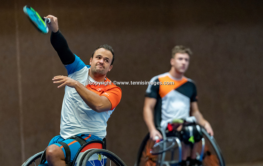 Alphen aan den Rijn, Netherlands, December 16, 2018, Tennispark Nieuwe Sloot, Ned. Loterij NK Tennis, Wheelchair doubles final, Rody de De Bie (NED) and Tom Egberink (NED) (L)<br /> Photo: Tennisimages/Henk Koster