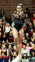 STANFORD, CA--March 1, 2013--Ashley Morgan with Stanford women's Gymnastics team competes on the beam during the competition against Cal and Oregon State University on the Stanford University Campus. Stanford won the competition .  Ashley Morgan