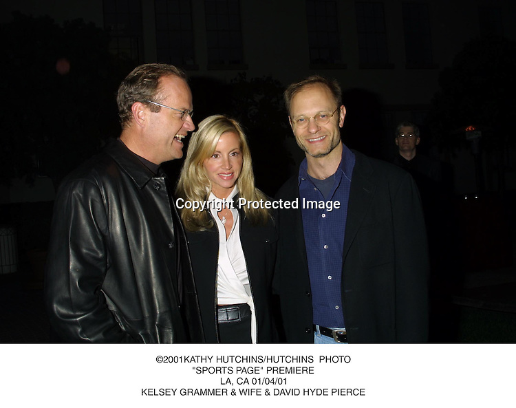 "©2001KATHY HUTCHINS/HUTCHINS  PHOTO.""SPORTS PAGE"" PREMIERE.LA, CA 01/04/01.KELSEY GRAMMER & WIFE & DAVID HYDE PIERCE"