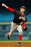 Relief pitcher Tyler Wagner #34 of the Utah Utes in action against the Baylor Bears at Minute Maid Park on March 5, 2011 in Houston, Texas.  Photo by Brian Westerholt / Four Seam Images