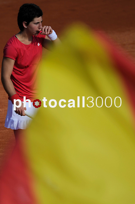 Spain's Carla Suarez Navarro returns the ball to Czech Republic's Klara Zakopalova during their 2014 International Tennis Federation Fed Cup World Group first-round tie at the Blas Infante tennis centre in Sevilla on February 10, 2014. <br /> PHOTOCALL3000 / GL