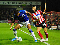 Lincoln City's Jorge Grant battles with Everton's Dominic Calvert-Lewin<br /> <br /> Photographer Andrew Vaughan/CameraSport<br /> <br /> The Carabao Cup Second Round - Lincoln City v Everton - Wednesday 28th August 2019 - Sincil Bank - Lincoln<br />  <br /> World Copyright © 2019 CameraSport. All rights reserved. 43 Linden Ave. Countesthorpe. Leicester. England. LE8 5PG - Tel: +44 (0) 116 277 4147 - admin@camerasport.com - www.camerasport.com