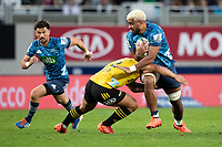 14th June 2020, Aukland, New Zealand;  Blues No.8 Hoskins Sotutu and 1st-five Otere Black during the Investec Super Rugby Aotearoa match, between the Blues and Hurricanes held at Eden Park, Auckland, New Zealand.