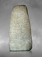 Neo Hittite Period Hieroglyphic inscription on a stone orthostat - Anatolian Civilisations Museum, Ankara, Turkey. Against a gray art background.