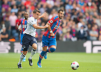 Crystal Palace Luka Milivojevic and Everton Seamus Coleman during the Premier League match between Crystal Palace and Everton at Selhurst Park, London, England on 10 August 2019. Photo by Andrew Aleksiejczuk / PRiME Media Images.