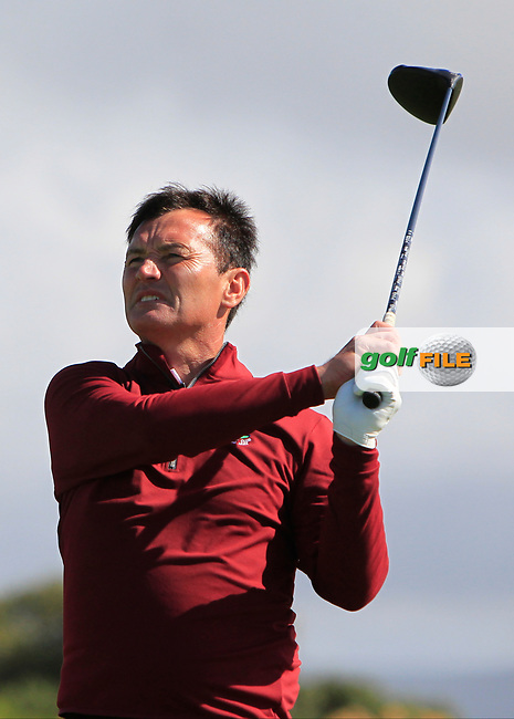 Peter Sheehan (Ballybunion) on the 1st tee during the Munster Final of the AIG Senior Cup at Tralee Golf Club, Tralee, Co Kerry. 12/08/2017<br /> Picture: Golffile | Thos Caffrey<br /> <br /> <br /> All photo usage must carry mandatory copyright credit     (&copy; Golffile | Thos Caffrey)