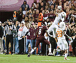 Texas' Kenny Vaccaro (2) intercepts a pass from A&amp;M Quarterback Ryan Tannehill with 6:53 left in the 3rd quarter on November 24, 2011 at Kyle Field.  <br />