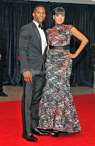 Victor Cruz and Elaina Watley arrive for the 2013 White House Correspondents Association Annual Dinner at the Washington Hilton Hotel on Saturday, April 27, 2013.<br /> Credit: Ron Sachs / CNP<br /> (RESTRICTION: NO New York or New Jersey Newspapers or newspapers within a 75 mile radius of New York City) /MediaPunch