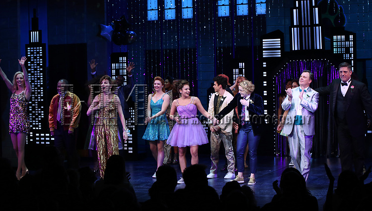 """Angie Schworer, Michael Potts, Beth Leavel, Isabelle McCalla, Caitlin Kinnunen, Brooks Ashmanskas and Christopher Sieber during the Broadway Opening Night Curtain Call of """"The Prom"""" at The Longacre Theatre on November 15, 2018 in New York City."""