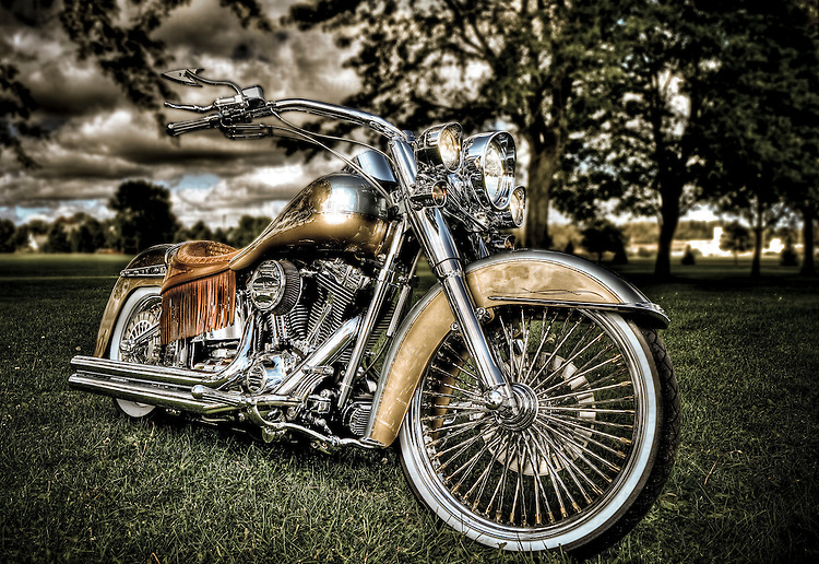 hdr of a custom Harley Davidson Motorcycle