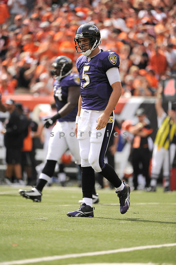 JOE FLACCO, of the Baltimore Ravens in action during the Ravens game against the Cincinnati Bengals on September 19, 2010 Paul Brown Stadium in Cincinnati, Ohio...The Bengals win 15-10
