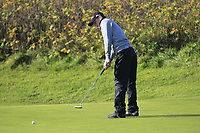 Joshua Hill (Galgorm Castle) on the 11th green during Round 3 of the Ulster Boys Championship at Royal Portrush Golf Club, Valley Links, Portrush, Co. Antrim on Thursday 1st Nov 2018.<br /> Picture:  Thos Caffrey / www.golffile.ie<br /> <br /> All photo usage must carry mandatory copyright credit (&copy; Golffile | Thos Caffrey)