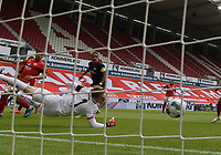 24th May 2020, Opel Arena, Mainz, Rhineland-Palatinate, Germany; Bundesliga football; Mainz 05 versus RB Leipzig; Gaolie Florian Mueller (FSV Mainz 05) beaten by the shot from Timo Werner (RB Leipzig) for  0:1 in the 11th minute