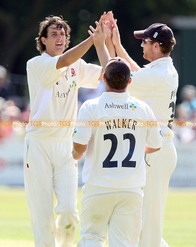 Chris Wright of Essex (L) celebrates the wicket of Stewart Walters - Essex CCC vs Surrey CCC - LV County Championship Division Two Cricket at Castle Park, Colchester -  19/08/09 - MANDATORY CREDIT: Gavin Ellis/TGSPHOTO - Self billing applies where appropriate - Tel: 0845 094 6026