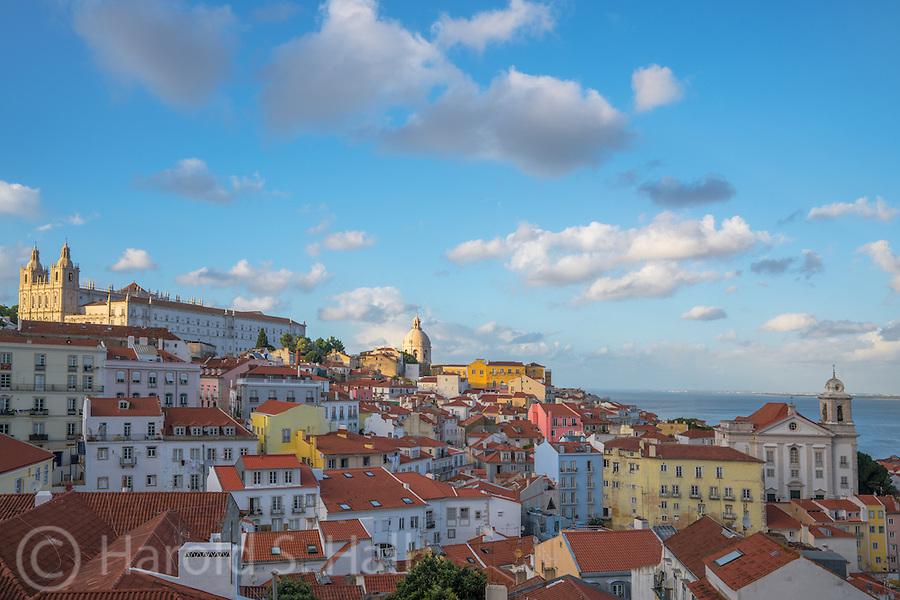 This is the Alfama District of Lisbon, Portugal.  Known for steep hills and colorful buildings.