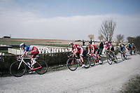 peloton with Arnaud D&eacute;mare (FRA/FDJ) over the 'plugstreet Christmas Truce' gravel section. <br /> <br /> 81st Gent-Wevelgem in Flanders Fields (1.UWT)<br /> Deinze &gt; Wevelgem (251km)