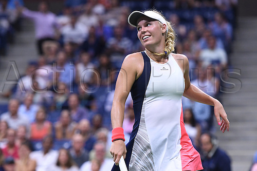 08.09.2016. Flushing Meadows, New York, USA. US Open tennis championships. Caroline Wozniacki (DEN) sees the funny side as she loses to Angelique Kerber (ger) in 2 sets as Kerber goes through to the final
