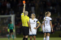 Boyds, MD - Saturday May 07, 2016: Portland Thorns FC midfielder Tobin Heath (17) receives her second yellow card of the match and is sent off in the 88 minute. The Washington Spirit and the Portland Thorns FC played to a 0-0 tie during a regular season National Women's Soccer League (NWSL) match at Maureen Hendricks Field, Maryland SoccerPlex.