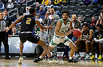 SIOUX FALLS, SD - MARCH 8: De'Sean Allen-Eikens #34 of the North Dakota Fighting Hawks looks to drive baseline against the PFW Mastodons at the 2020 Summit League Basketball Championship in Sioux Falls, SD. (Photo by Dave Eggen/Inertia)