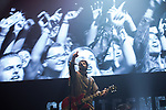 © Joel Goodman - 07973 332324 . No Editorial syndictaion permitted . 09/09/2017. Manchester , UK . LIAM FRAY of Courteeners performs . We Are Manchester reopening charity concert at the Manchester Arena with performances by Manchester artists including  Noel Gallagher , Courteeners , Blossoms and the poet Tony Walsh . The Arena has been closed since 22nd May 2017 , after Salman Abedi's terrorist attack at an Ariana Grande concert killed 22 and injured 250 . Money raised will go towards the victims of the bombing . Photo credit : Joel Goodman