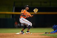 AZL Giants Orange shortstop Marco Luciano (10) covers second base on an attempted steal during an Arizona League game against the AZL Cubs 1 on July 10, 2019 at Sloan Park in Mesa, Arizona. The AZL Giants Orange defeated the AZL Cubs 1 13-8. (Zachary Lucy/Four Seam Images)