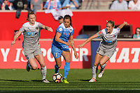 Bridgeview, IL - Sunday September 03, 2017: Samantha Mewis, Sofia Huerta, Abby Dahlkemper during a regular season National Women's Soccer League (NWSL) match between the Chicago Red Stars and the North Carolina Courage at Toyota Park. The Red Stars won 2-1.