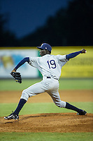 Princeton Rays relief pitcher Sandy Brito (19) in action against the Burlington Royals at Burlington Athletic Stadium on June 24, 2016 in Burlington, North Carolina.  The Rays defeated the Royals 16-2.  (Brian Westerholt/Four Seam Images)