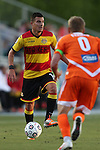 20 April 2013: Fort Lauderdale's Carlos Salazar (COL) (14) and Carolina's Floyd Franks (0). The Carolina RailHawks played the Fort Lauderdale Strikers at WakeMed Stadium in Cary, North Carolina in a North American Soccer League Spring 2013 Season regular season game.