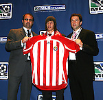 12 January 2007: John Cunliffe (ENG) (center) was taken with the overall #7 pick by CD Chivas USA. He is flanked by General Manager Whit Haskell (l) and assistant coach Preki (r). The 2007 MLS SuperDraft was held in the Indianapolis Convention Center in Indianapolis, Indiana during the National Soccer Coaches Association of America's annual convention.