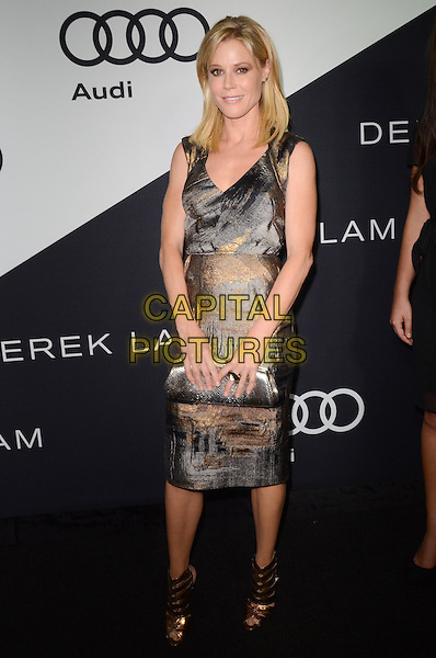 Julie Bowen.Audi and Derek Lam Celebrate the 2012 Emmy Awards held at Cecconi's Restaurant, Los Angeles, California, USA..16th September 2012.full length dress grey gray beige tie tie print sleeveless silver clutch bag bronze sandals .CAP/ADM/TW.©Tonya Wise/AdMedia/Capital Pictures.