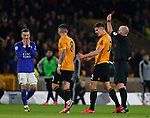 James Maddison of Leicester City reacts as referee Mike Dean shows a red card to Hamza Chodhury of Leicester City (not in picture) during the Premier League match at Molineux, Wolverhampton. Picture date: 14th February 2020. Picture credit should read: Darren Staples/Sportimage