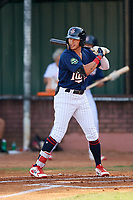 Elizabethton Twins center fielder DaShawn Keirsey (8) at bat during a game against the Bristol Pirates on July 28, 2018 at Joe O'Brien Field in Elizabethton, Tennessee.  Elizabethton defeated Bristol 5-0.  (Mike Janes/Four Seam Images)