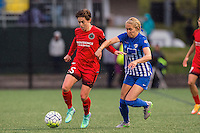 Allston, MA - Sunday, May 1, 2016:  Portland Thorns FC defender Meghan Klingenberg (25) and Boston Breakers forward Brittany Ratcliffe (11) in a match at Harvard University.