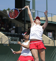 STANFORD, CA - April 9, 2011:  Nicole Gibbs with doubles partner Kristie Ahn during Stanford's 5-2 victory over Washington at Stanford, California on April 9, 2011.