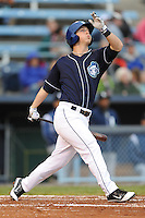 Asheville Tourists Corey Dickerson #23 swings at a pitch during a game against  the Lexington Legends at McCormick Field in Asheville,  North Carolina;  April 16, 2011. Lexington defeated Aheville 13-7.  Photo By Tony Farlow/Four Seam Images