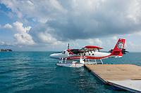Maldives, Rangali Island. Conrad Hilton Resort. Seaplane leaving.