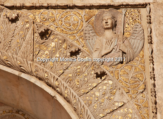 Detail of the mosaics and details on the facade of Saint Mark's Basilica in Venice, Italy