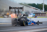 Jul 10, 2020; Clermont, Indiana, USA; NHRA top fuel driver Clay Millican during testing for the Lucas Oil Nationals at Lucas Oil Raceway. This will be the first race back for NHRA since the COVID-19 pandemic. Mandatory Credit: Mark J. Rebilas-USA TODAY Sports