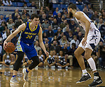 San Jose State forward Noah Baumann (20) looks to drive on Nevada's Caleb Martin in the second half of an NCAA college basketball game in Reno, Nev., Wednesday, Jan. 9, 2019. (AP Photo/Tom R. Smedes)
