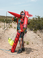 Andy Zacek, from North Seattle College retrieves his rocket after a launch at the Spaceport America Cup near the town of Truth or Consequences, New Mexico, Friday, June 23, 2017. The International Intercollegiate Rocket Engineering Competition hosted over 110 teams from colleges and universities in eleven countries. Students launched solid, liquid, and hybrid rockets to target altitudes of 10,000 and 30,000 feet. The 2017 Spaceport America Cup winner was the University of Michigan, Ann Arbor, Team 79.<br /> <br /> Photo by Matt Nager
