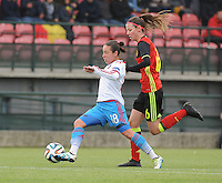 20161023 - TUBIZE , BELGIUM : Belgian Nicky Van Den Abbeele (R) and Russian Elvira Ziiastinova (L) pictured during a friendly game between the women teams of the Belgian Red Flames and Russia at complex Euro 2000 in Tubize , Sunday 23 October 2016 ,  PHOTO Dirk Vuylsteke | Sportpix.Be